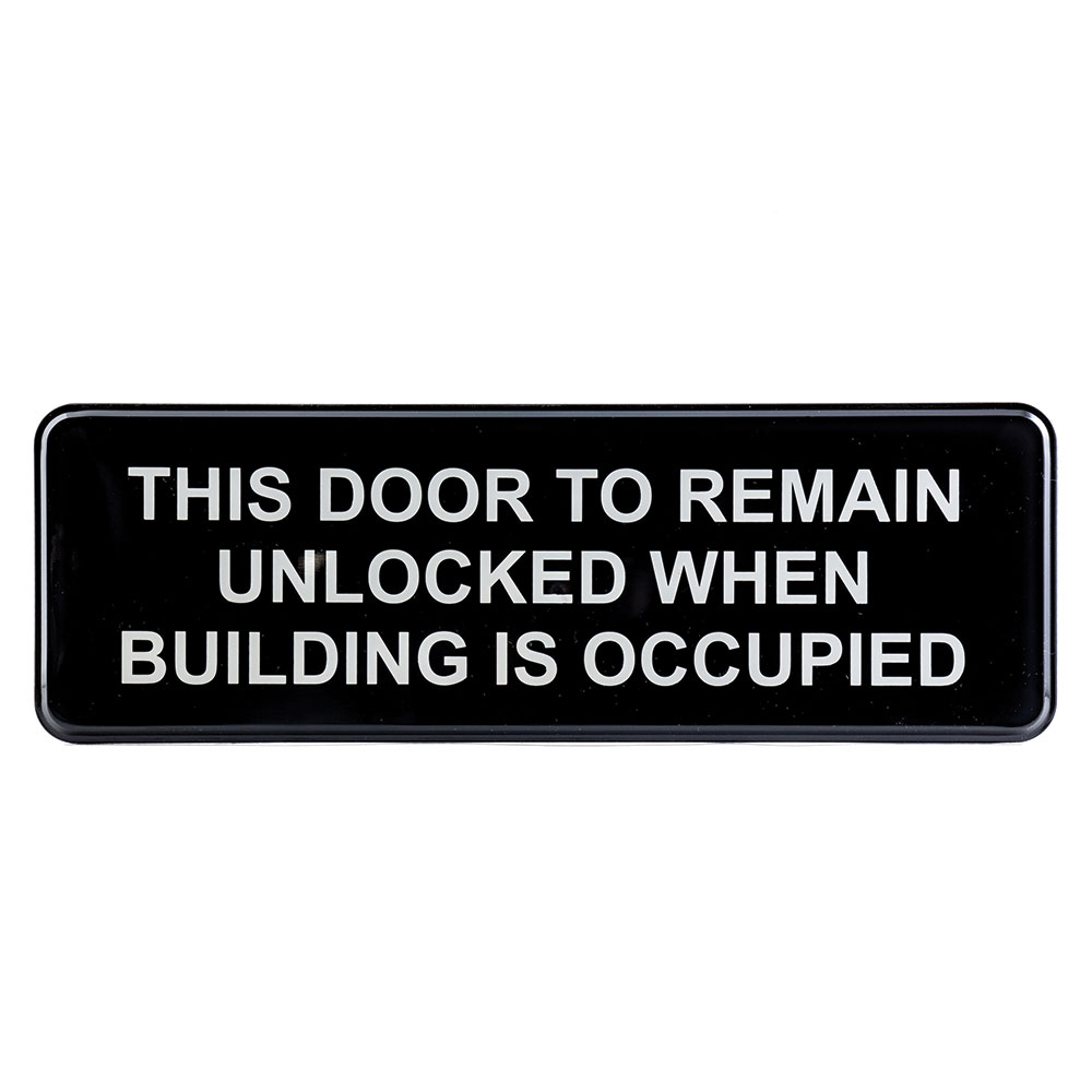 """Tablecraft 394562 Wall Sign - """"This Door To Remain Locked While Building Is Occupied"""", 3"""" x 9"""""""