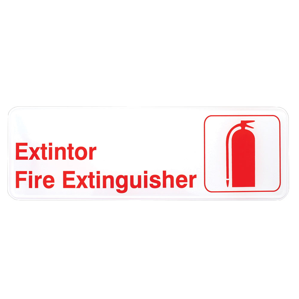 """Tablecraft 394582 3 x 9"""" Sign, Exintor / Fire Extinguisher, Red On White"""