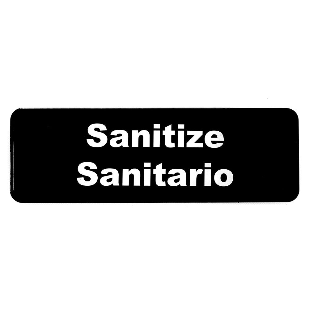 "Tablecraft 394595 3 x 9"" Sign, Sanitize / Sanitario"