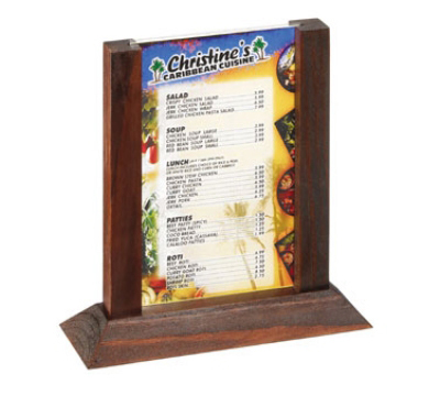 Tablecraft 4060WMA 2-Sided Wood Menu Holder w/ Vinyl Protector, 4 x 6-in, Mahogany