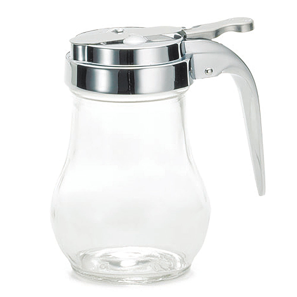 Tablecraft 406 Syrup Dispenser, 6 oz, Glass, Chrome Plated Metal Top, Teardrop