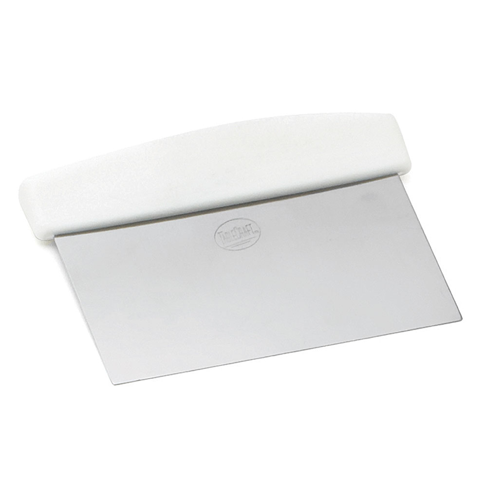 "Tablecraft 4103W 6"" Dough Scraper w/ White ABS Handle, Stainless Steel Blade"