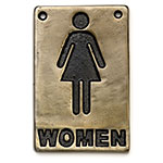 "Tablecraft 465634 Sign, 4 x 6"", Women Restroom, Antique Bronze"