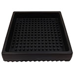 "Tablecraft 4SBK 4.5"" Square Drip Tray - Rubber, Black"
