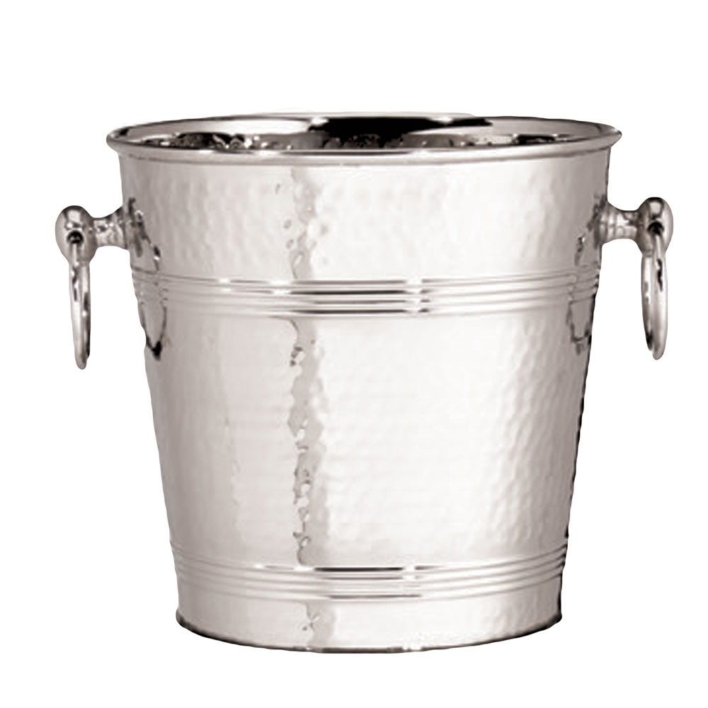 Tablecraft 5198 7-Quart Stainless Steel Wine Champagne Bucket w/ Hammered Finish