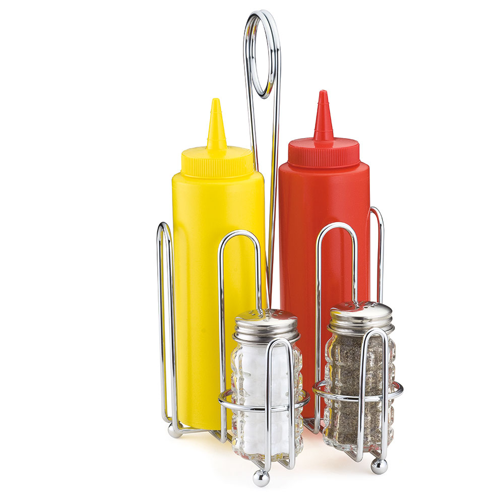 Tablecraft 592C Chrome Plated Combination Rack w/ All 12-oz Squeeze Dispensers