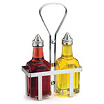 Tablecraft 600N Oil & Vinegar Dispensers, (2) 6 oz. & 1 Rack, Square Glass, Stainless Top