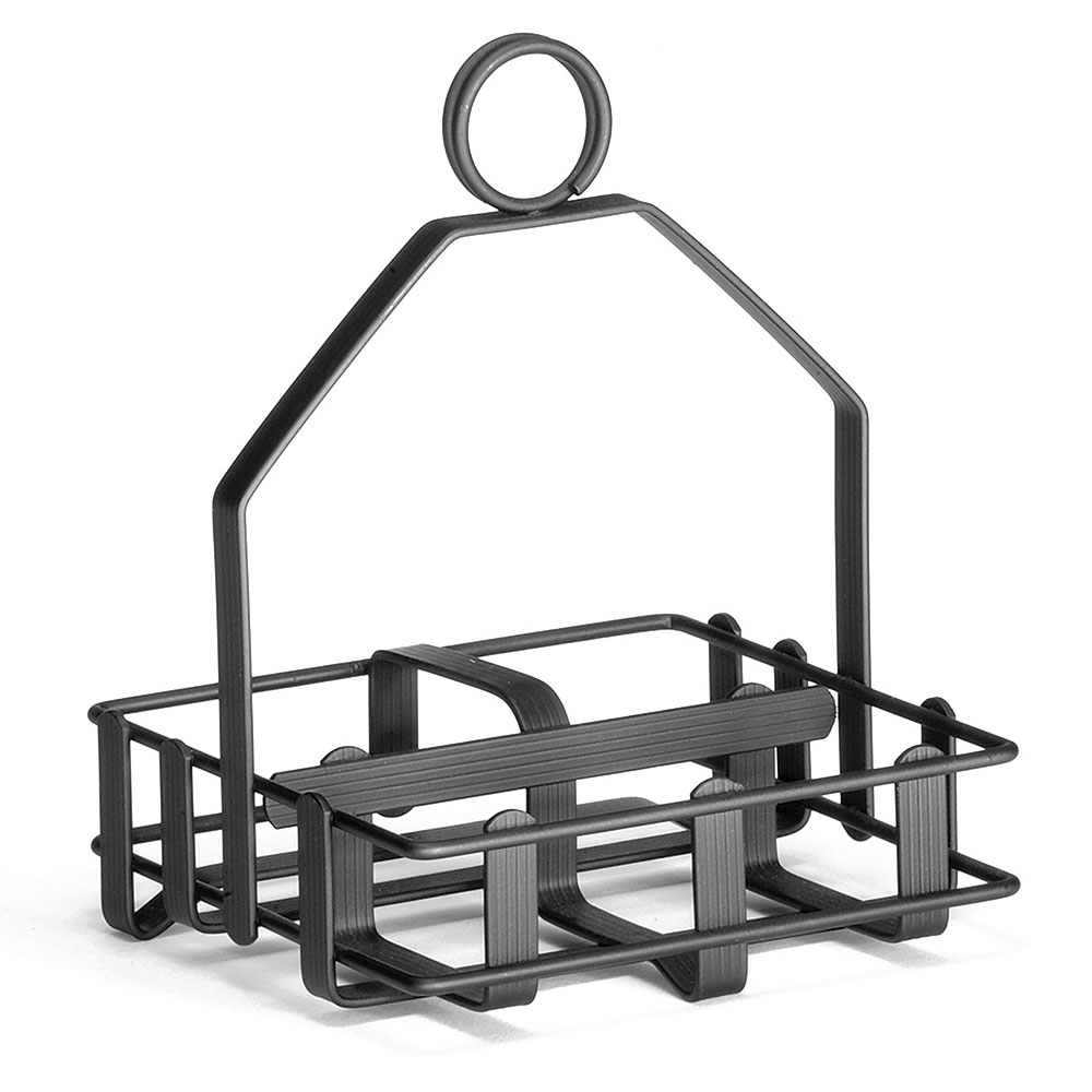 "Tablecraft 609RBK Black Metal Condiment Rack, Fits 2-1/8"" Salt Pepper Shakers"
