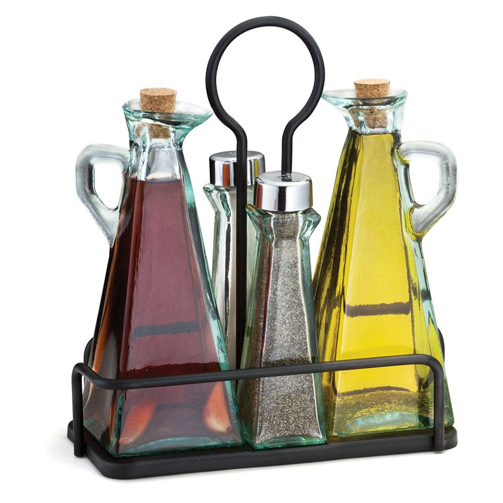Tablecraft 61517NBK Marbella 5-Piece Oil & Vinegar Set w/ Stainless Steel Tops