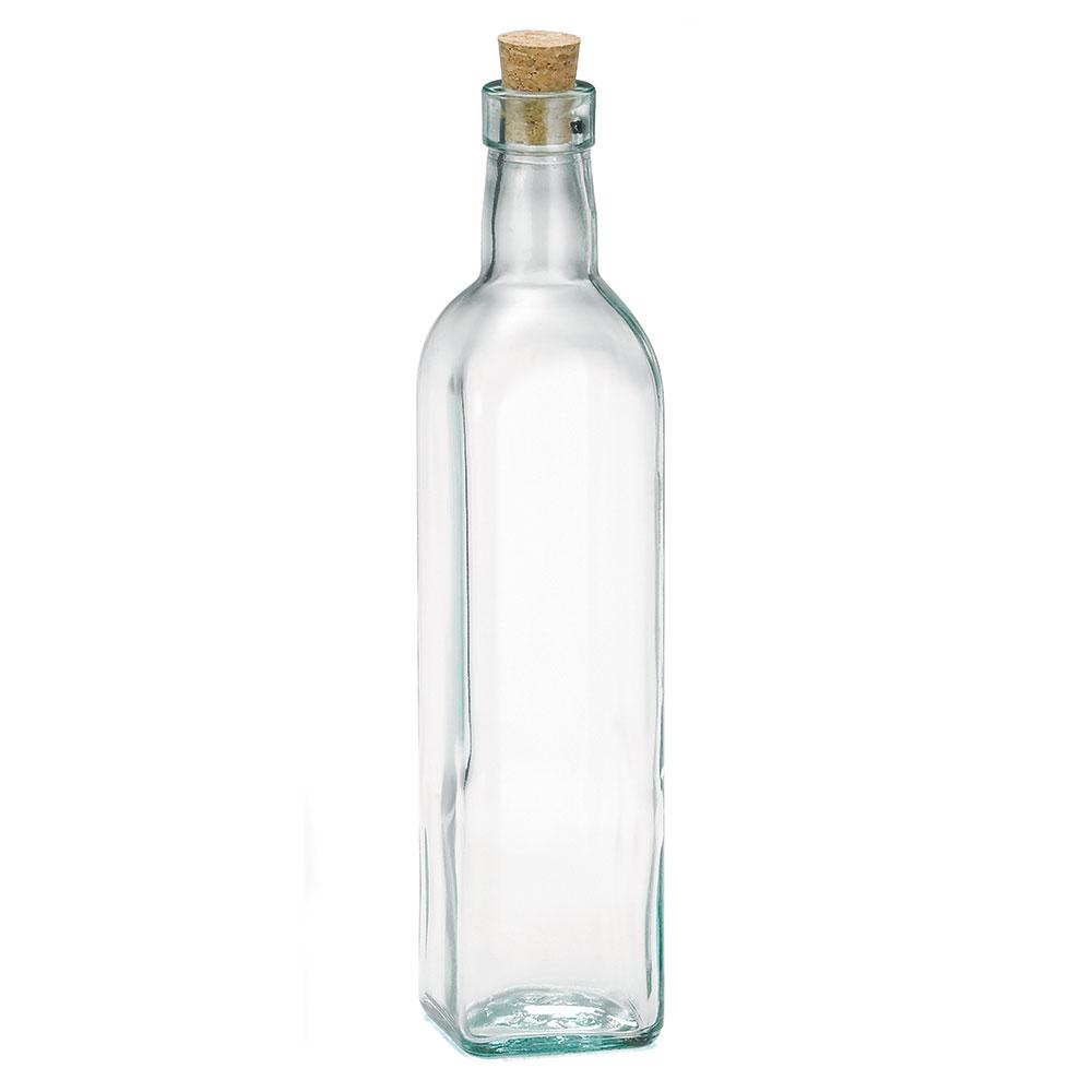 Tablecraft 616 16-oz Prima Green Glass Olive Oil Bottle w/ Cork Stopper, Square