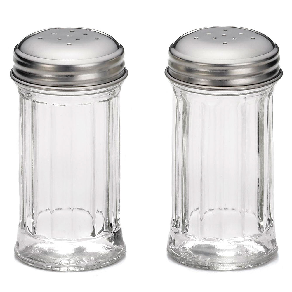 Tablecraft 657 Salt Pepper Shakers, 2-oz, Fluted Glass, Stainless Steel Tops