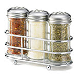 Tablecraft 659N 2-oz Fluted Shaker Set w/ Rack, Stainless Steel Tops