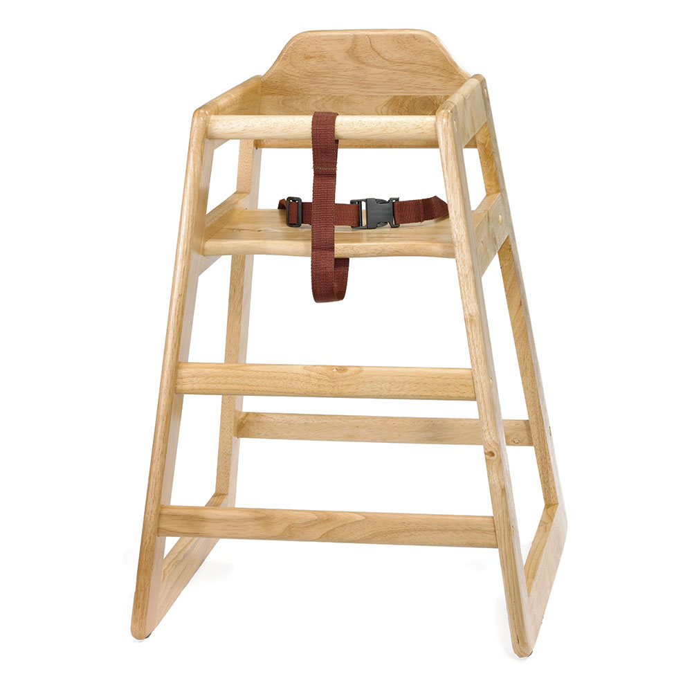 "Tablecraft 65A 26.75"" Stackable High Chair w/ Waist Strap - Wood, Natural"