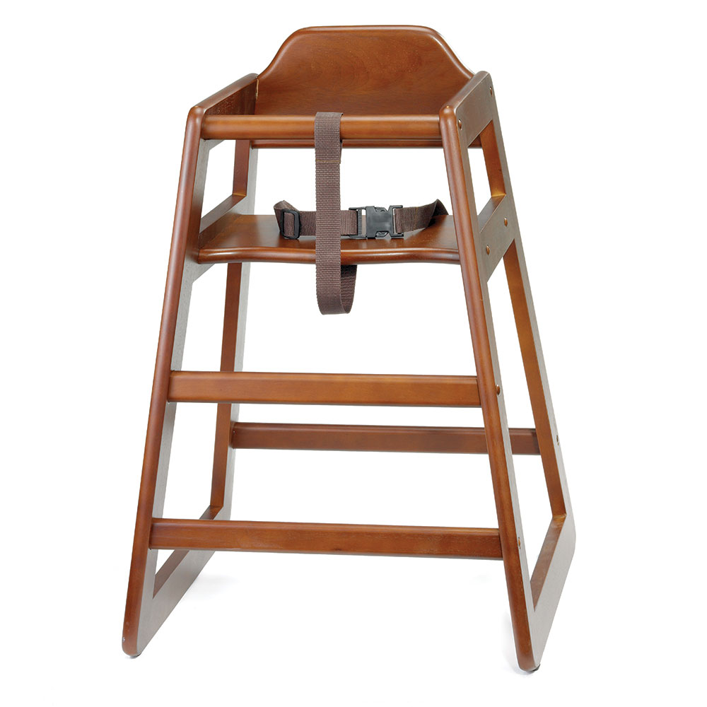 Baby chair for restaurant - Tablecraft 66 26 75 Stackable High Chair W Waist Strap Wood Walnut