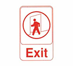 "Tablecraft 695609 6 x 9"" Sign, Exit, Red on White, Adhesive Back"