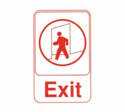 Tablecraft 695609 6 x 9-in Sign, Exit, Red on White, Adhesive Back