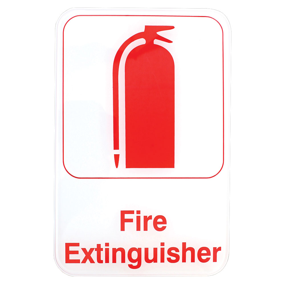 "Tablecraft 695618 6 x 9"" Sign, Fire Extinguisher, Red on White, Adhesive Back"