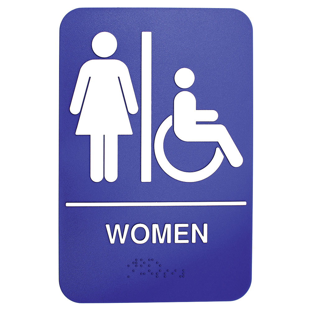 """Tablecraft 695630 6 x 9"""" Sign, Women / Accessible w/ Handicapped Symbol, Braille"""