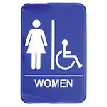 Tablecraft 695630A 6 x 9-in Sign, Women / Accessible, Handicapped Symbol, Blue and White