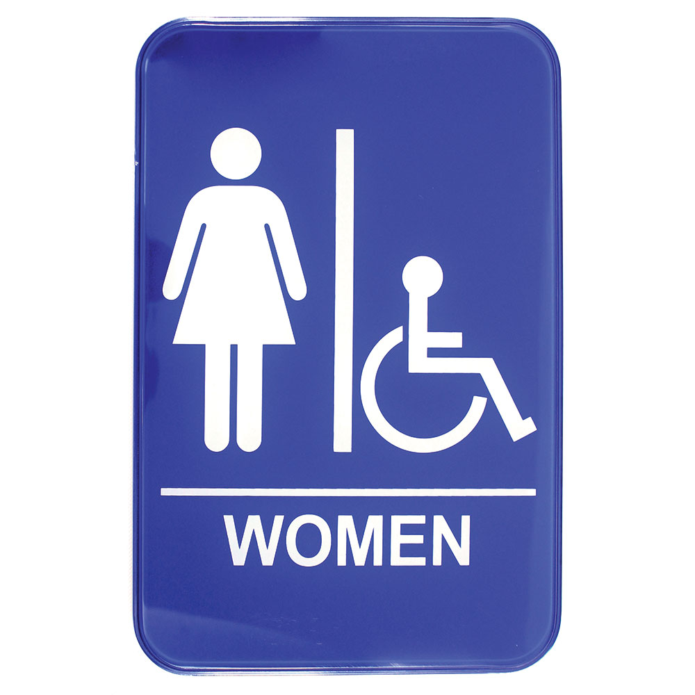 Tablecraft 695630A 6 x 9-in Sign, Women / Accessible, Handicapped Sy