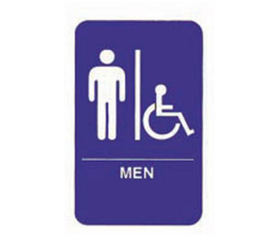 Tablecraft 695631 6 x 9-in Sign, Men / Accessible, Handicapped Symbol, Blue and White
