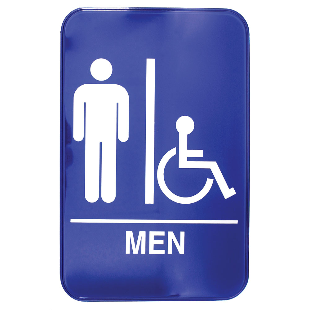 "Tablecraft 695631A 6 x 9"" Sign, Men / Accessible Sign w/ Handicapped Symbol, Braille"