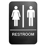 "Tablecraft 695633 6 x 9"" Sign, Restroom w/ Handicapped Symbol, White On Black"