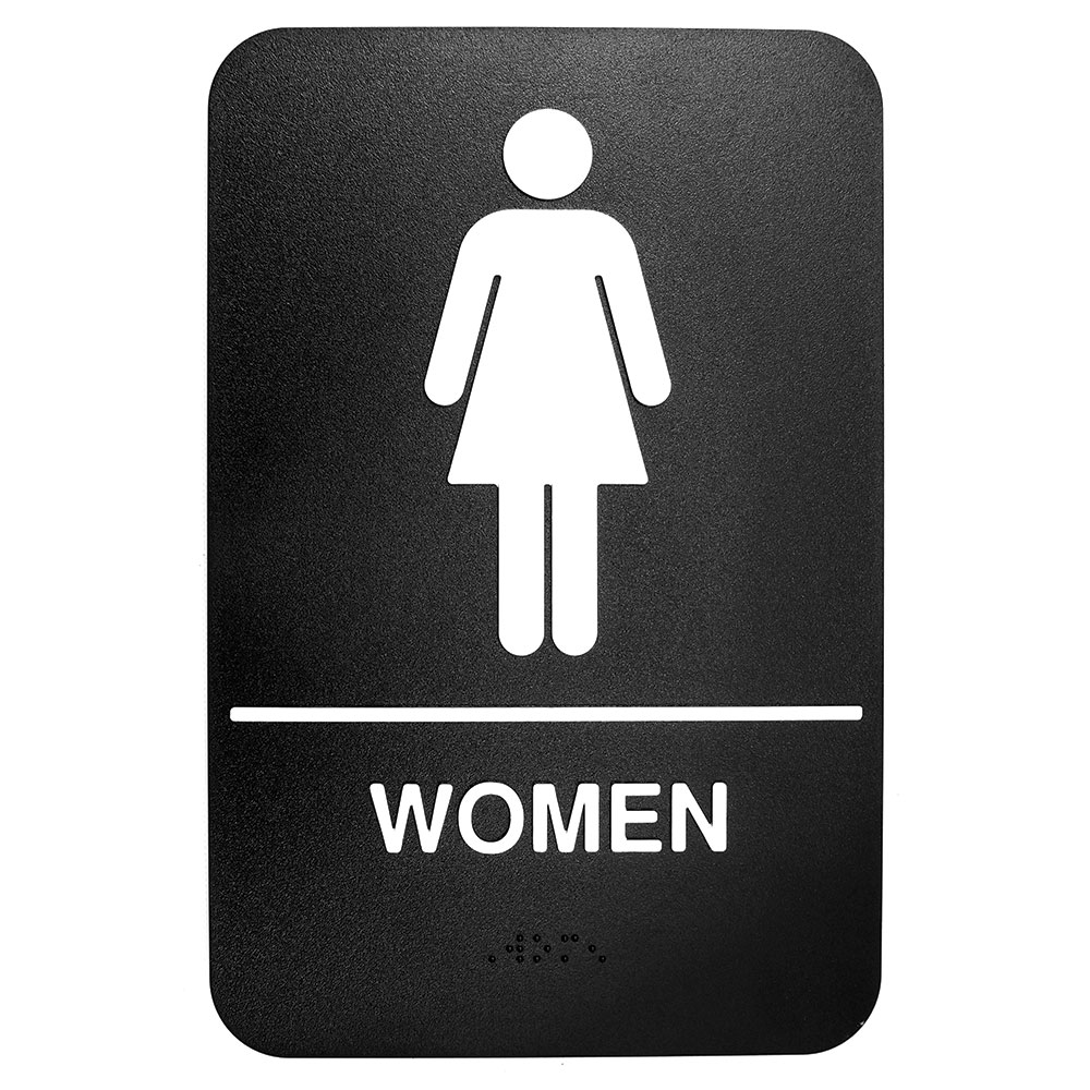 "Tablecraft 695634 6 x 9"" Sign, Women Symbol, White On Black"