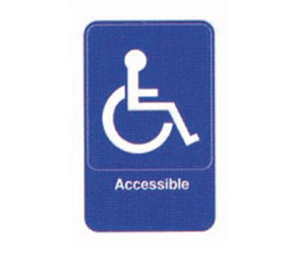 Tablecraft 695644 6 x 9-in Sign, Accessible w/Handicapped Symbol, Blue and White