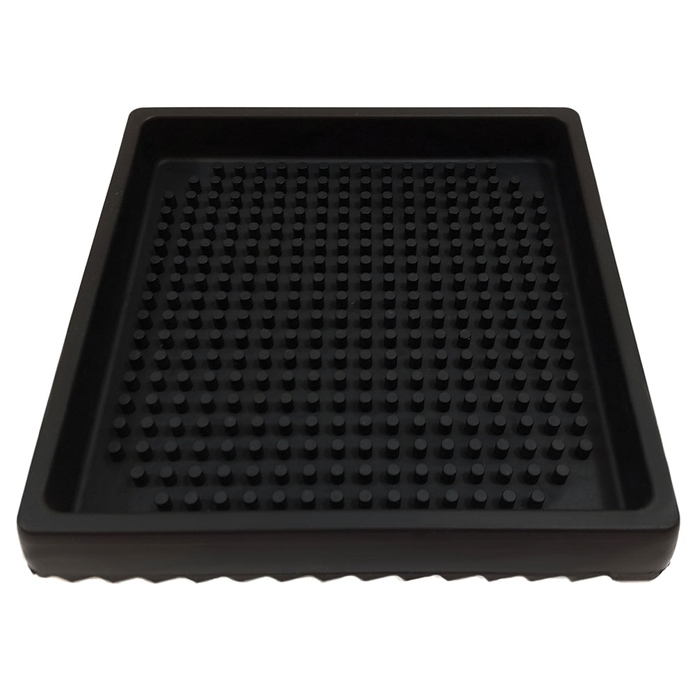 "Tablecraft 6SBK 6"" Square Drip Tray - Rubber, Black"