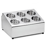 Tablecraft 7062 Stainless Steel Flatware Cylinder Holder w/ Six Holes, Two-Tier