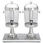 Tablecraft 72 Double 2.1 Gal Beverage Dispenser, Polycarbonate w/ Stainless Steel