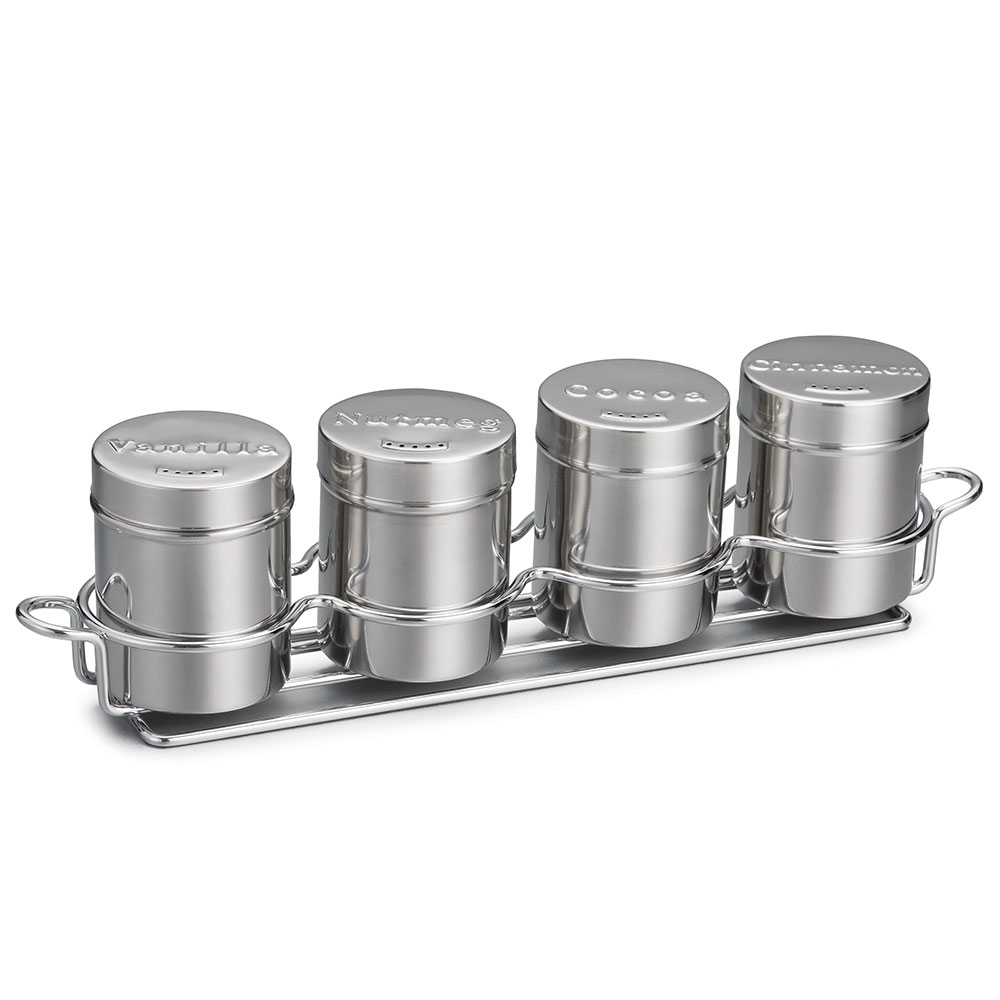 Tablecraft 759X 6-oz Coffee Shaker Set, Includes 4-Ring Chrome Plated Metal Rack