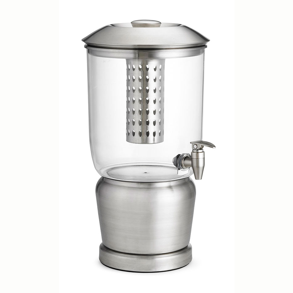 Tablecraft 75 2.5-gal Beverage Dispenser, Single, 10.75 x 10.75 x 19.5-in, Stainless Center