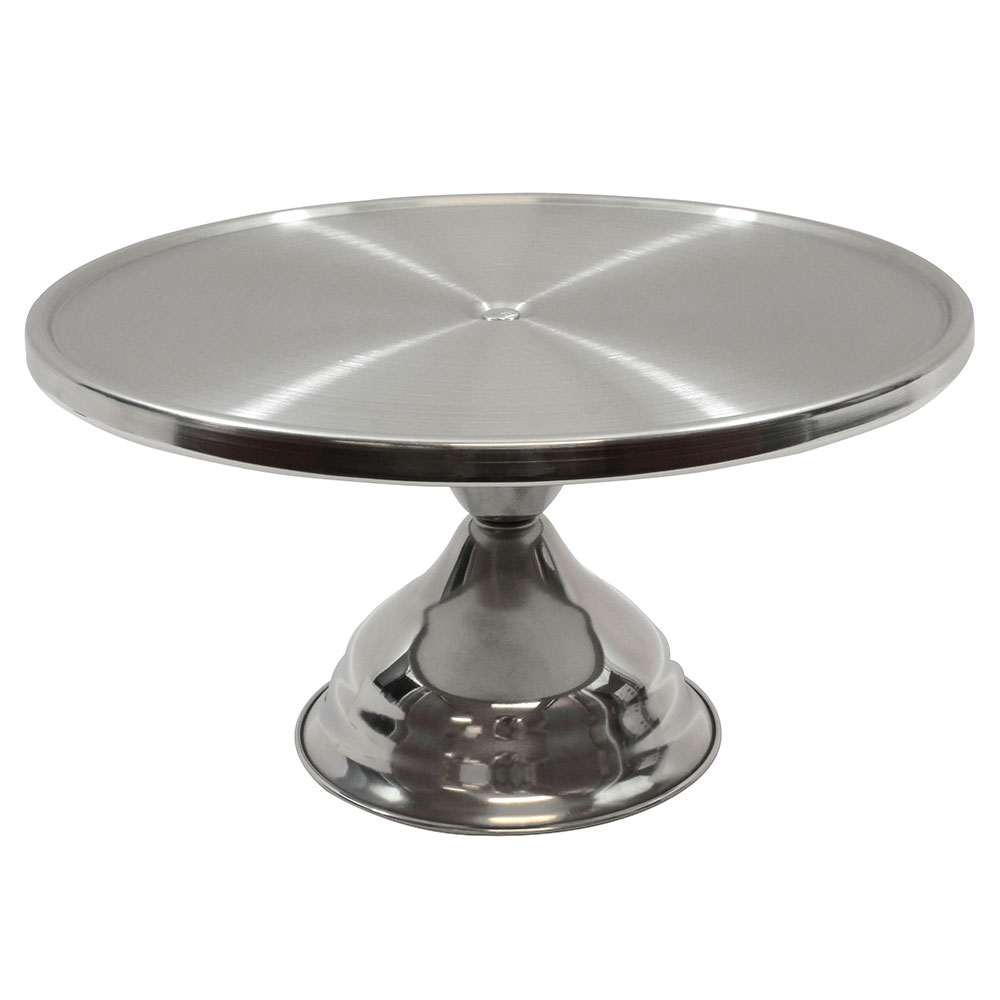 "Tablecraft 821U 6-3/4"" Stainless Steel Cake Stand, Unassembled"
