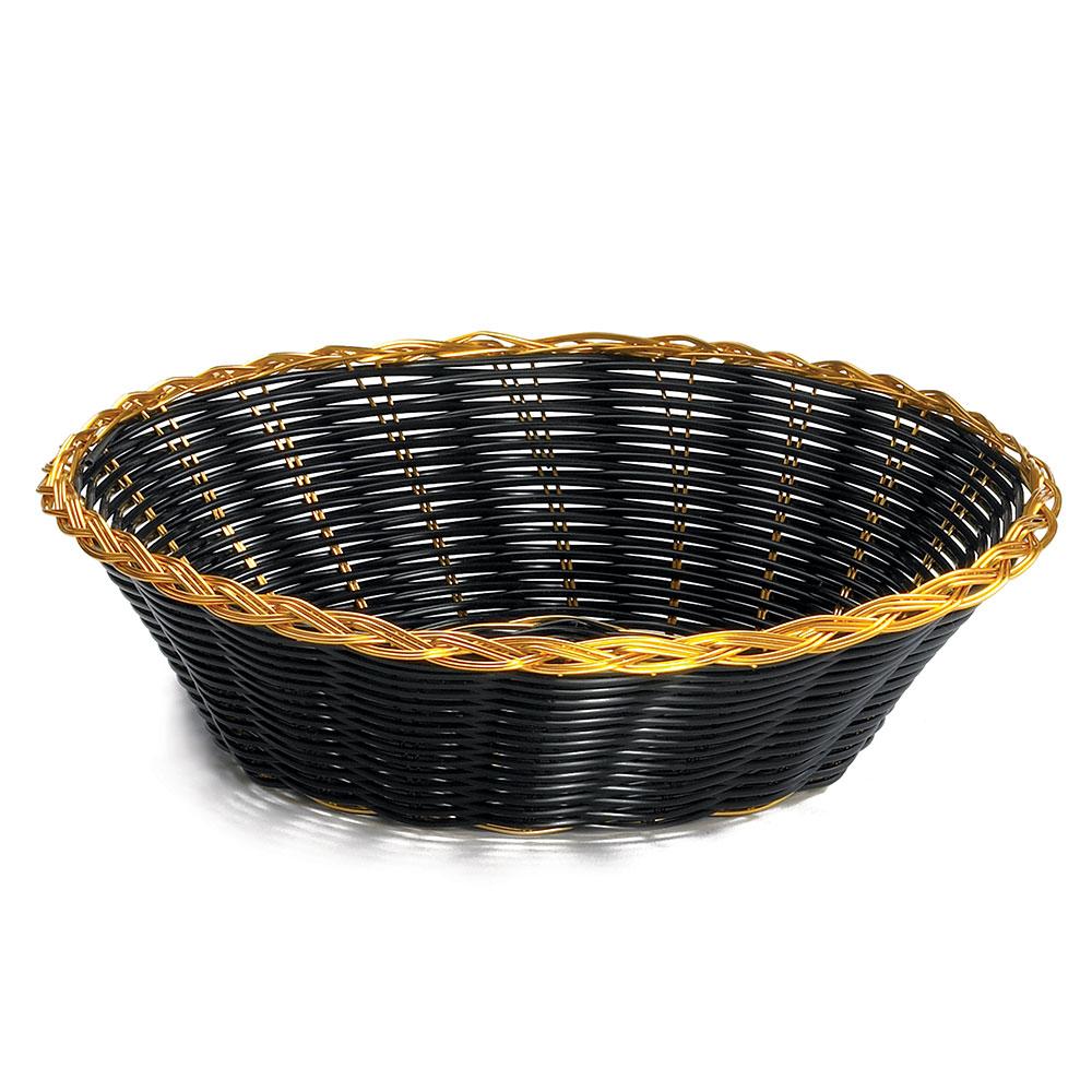 """Tablecraft 875B Round Handwoven Basket, 8 x 2-1/4"""", Black Vinyl w/ Gold Trim"""