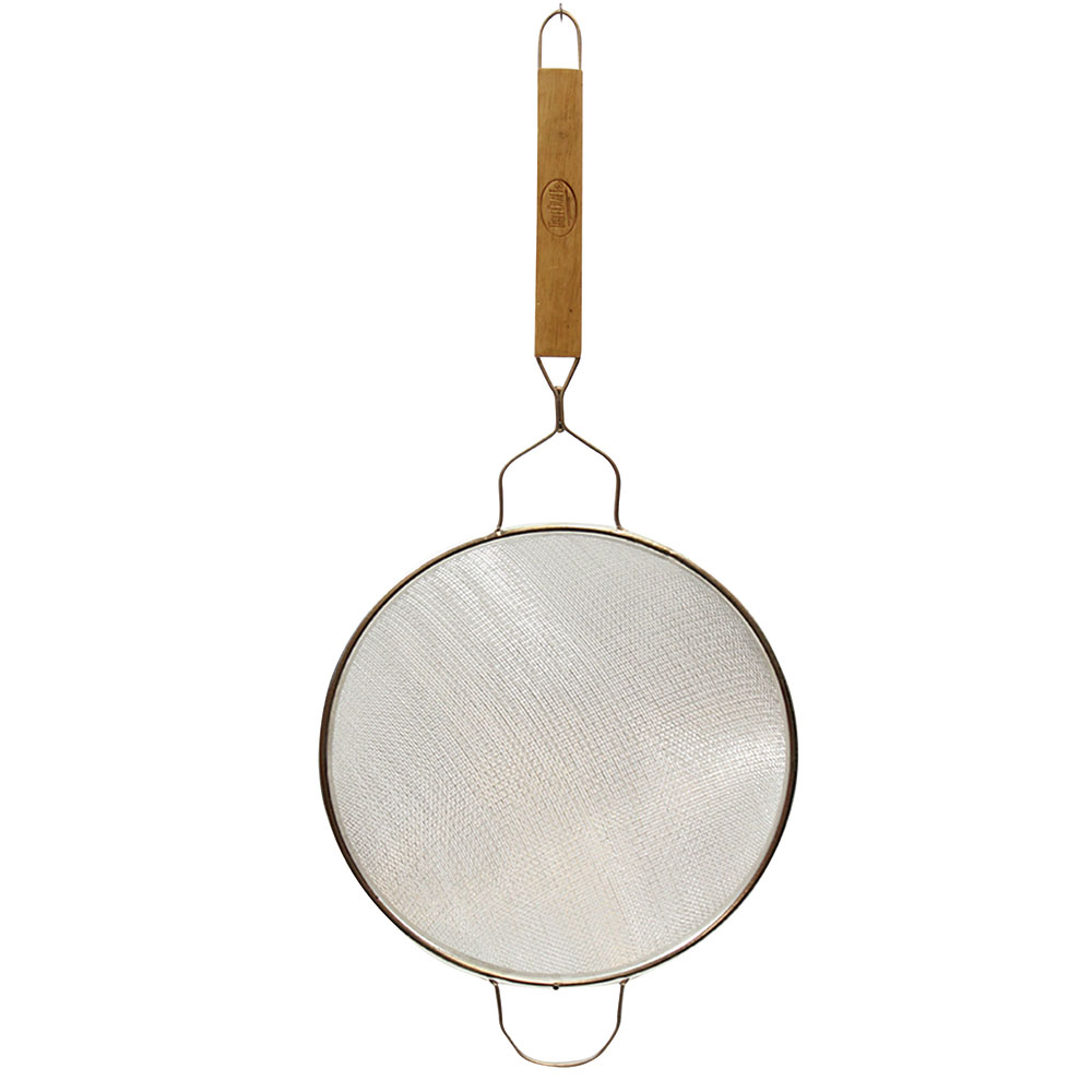 """Tablecraft 87 10-1/4"""" Tinned Fine Mesh Strainer w/ Wooden Handle, Double"""