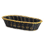 "Tablecraft 917B Oblong Handwoven Basket, 9 x 4 x 2"", Black Vinyl, Gold Trim"