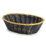 Tablecraft 975B Basket, Oval, Black Vinyl w/ Gold Metal Trim