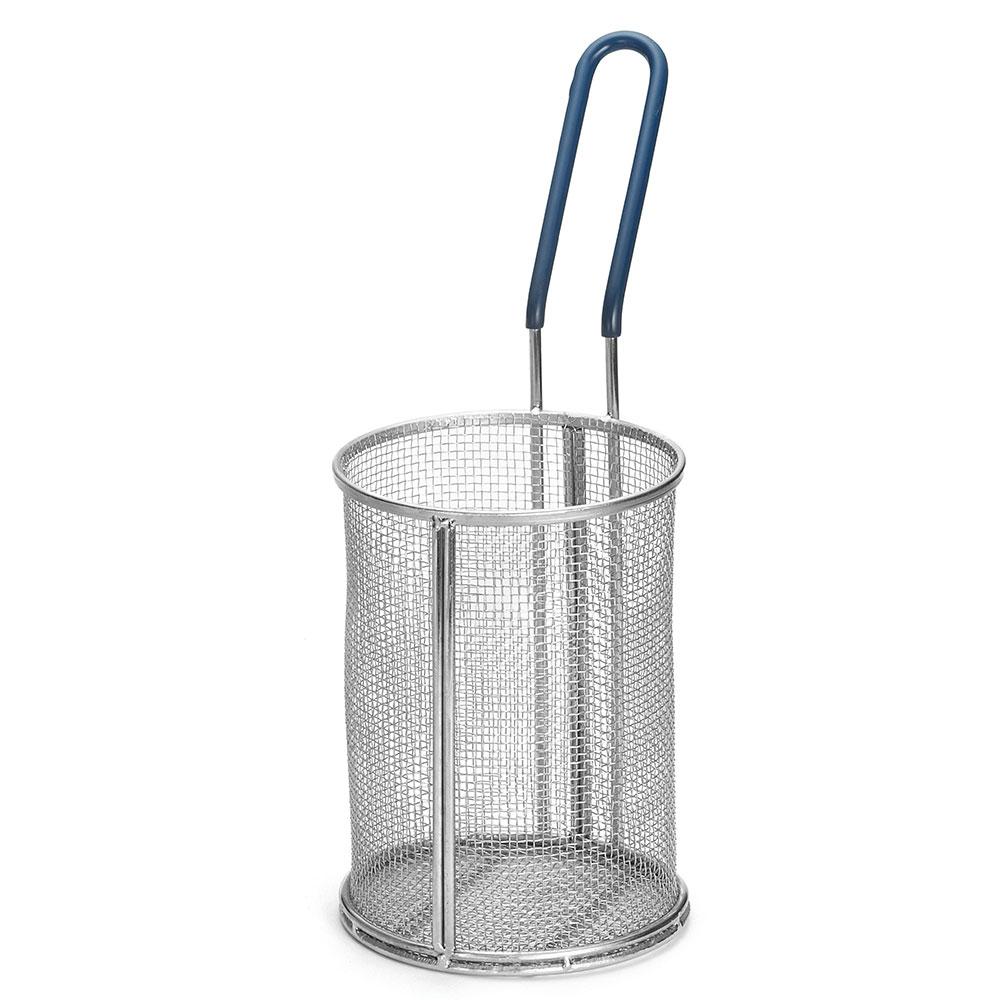 """Tablecraft 985 Stainless Steel Pasta Basket, 5-1/4 x 7"""" Round, Blue Handle"""