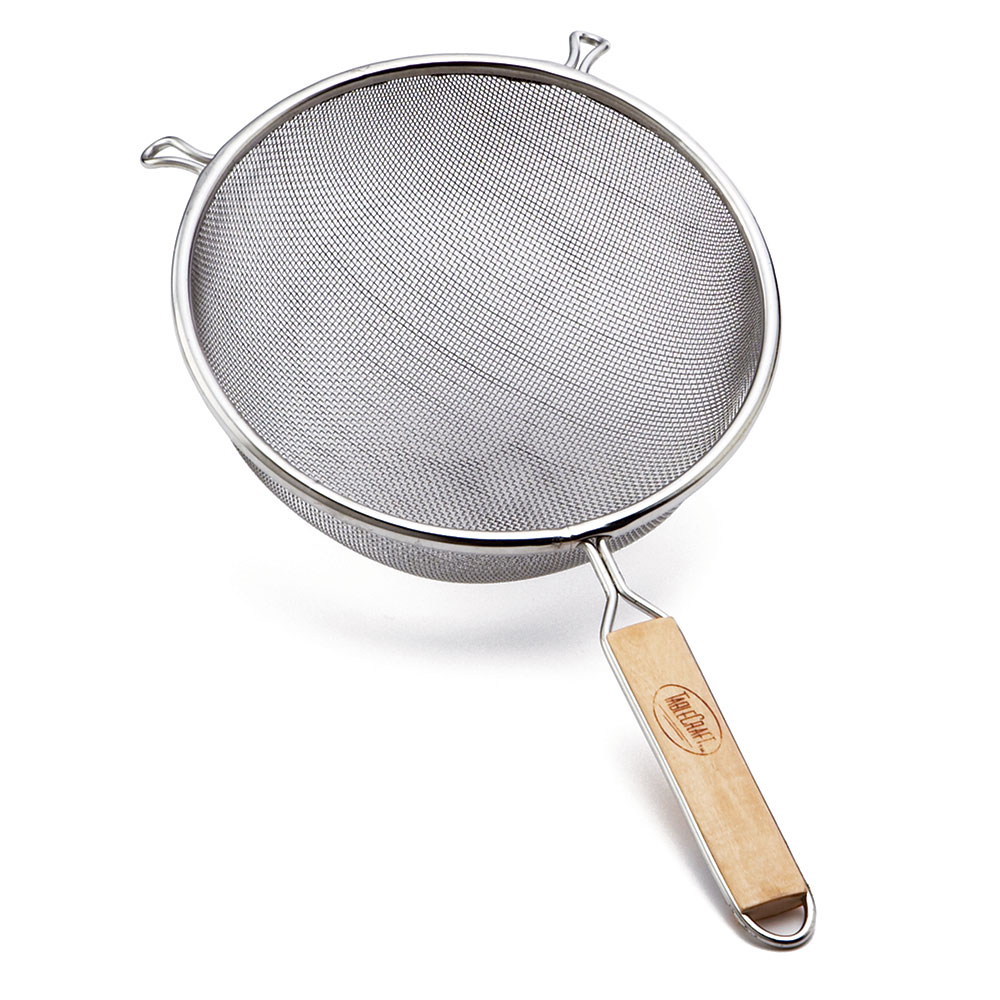 Tablecraft 98 8-in Double Strainer, Tinned, Wooden Handle
