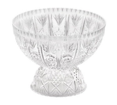 Tablecraft 998-2C 12 qt Starburst Crystalware Punch Bowl, 10.5 in Pedestal Base, Styrene
