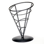 Tablecraft AC57 Vertigo Collection Appetizer Cone, 5 x 7 in, Black Powder Coated Metal