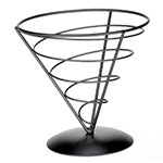 Tablecraft AC77 Vertigo Collection Appetizer Cone, 7 x 7 in, Black Powder Coated Metal