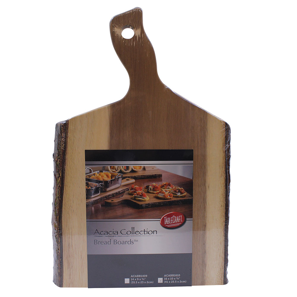 "Tablecraft ACABB1610 Bread Board - 16"" x 10"", Bark-Lined Wood"