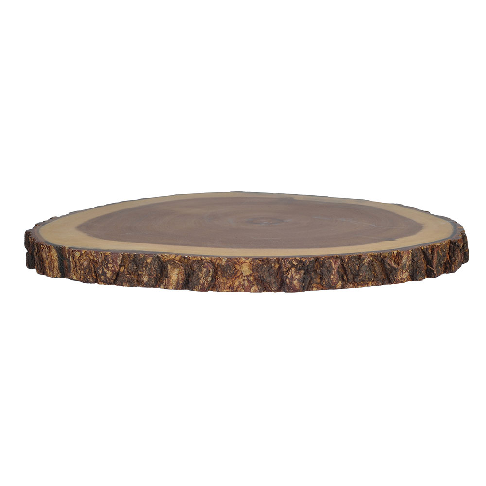 "Tablecraft ACARD1212 12"" Round Display Board - Bark-Lined Wood"