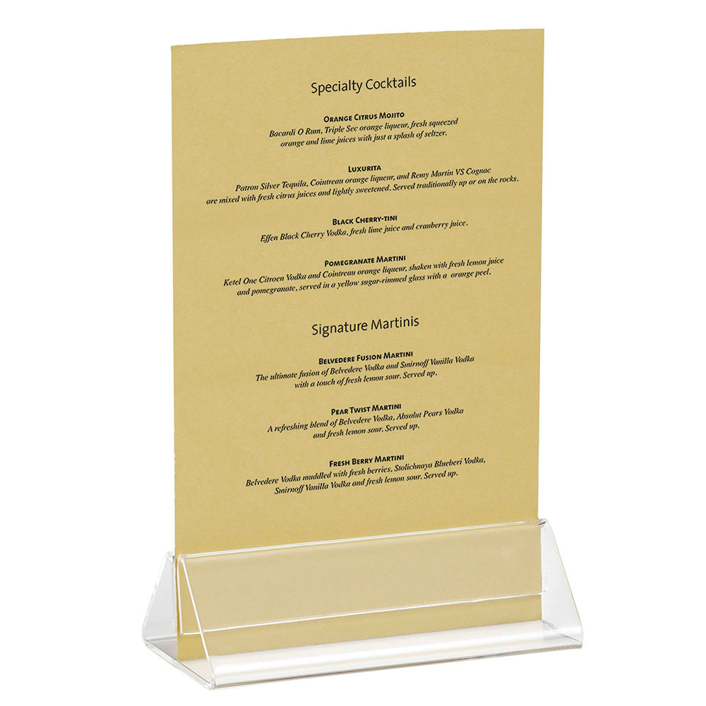 Tablecraft ACH42 Triangle Menu Holder, 4 x 2 x 1.5-in, Acrylic