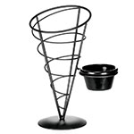 Tablecraft ACR59 Vertigo Collection Appetizer Cone w/ Ramekin, 5 x 9 in, Black Metal