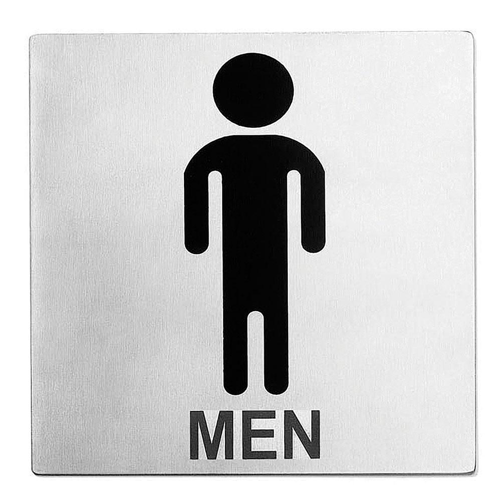 """Tablecraft B10 Stainless Steel Sign, 5 x 5"""", Men Restroom"""