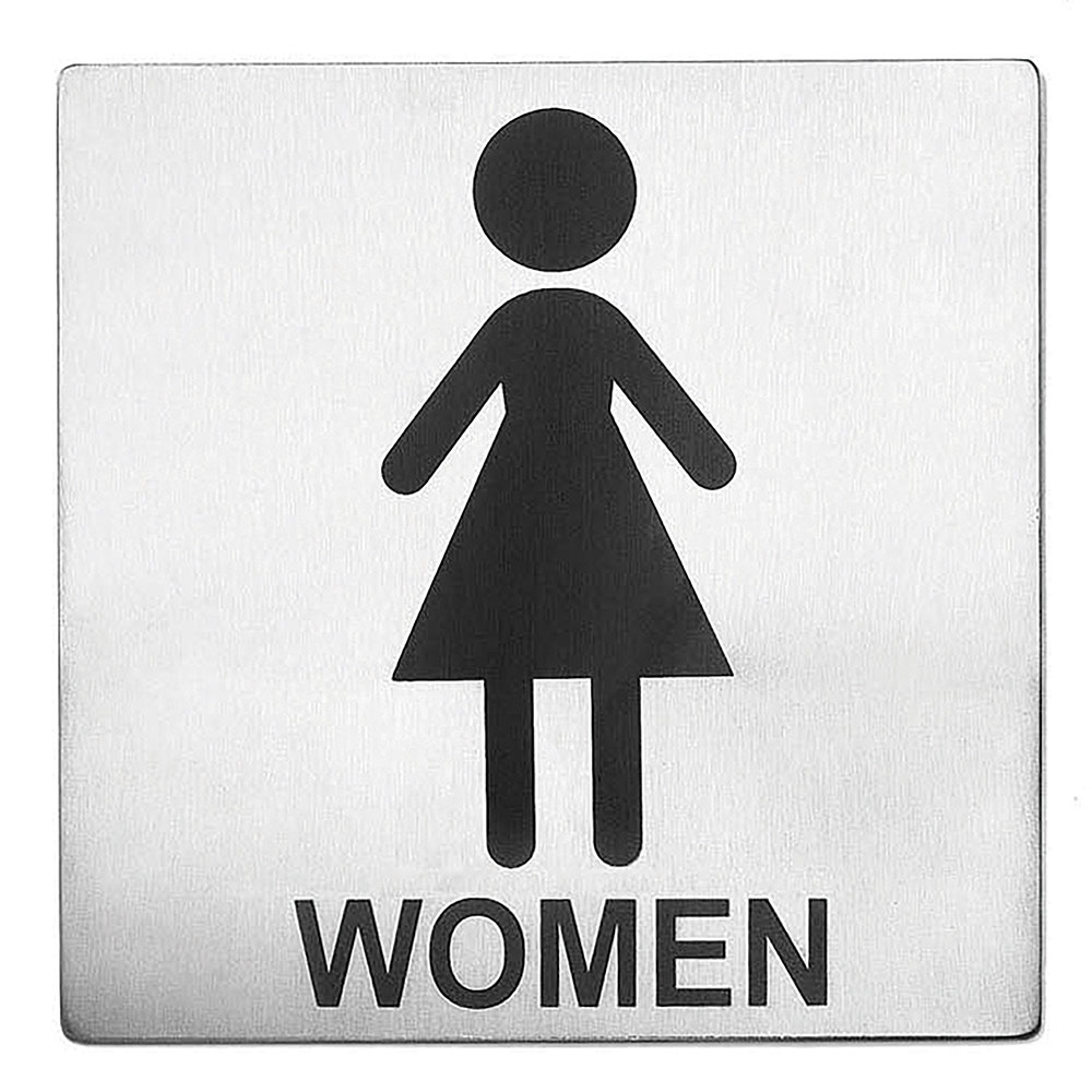 "Tablecraft B11 Stainless Steel Sign, 5 x 5"", Women Restroom"